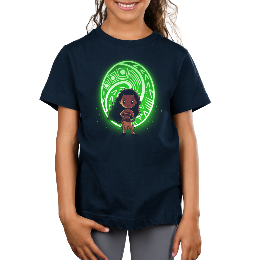 The Heart of Te Fiti kids tshirt model officially licensed black tshirt featuring Moana