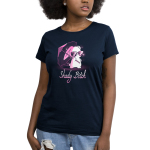 Shady Bitch Women's t-shirt model TeeTurtle navy t-shirt featuring a white bunny giving a smirk wearing sunglasses and holding a purple umbrella with sparkles around them