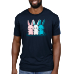 Inclusive Bunnies Men's t-shirt model TeeTurtle navy t-shirt featuring three bunnies standing next to each other holding hands, one is pink, one is white, and one is blue