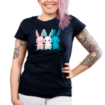 Inclusive Bunnies Junior's t-shirt model TeeTurtle navy t-shirt featuring three bunnies standing next to each other holding hands, one is pink, one is white, and one is blue