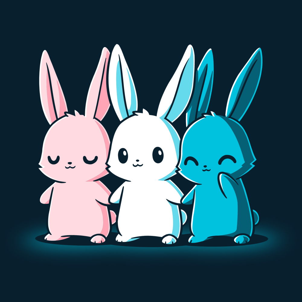 Inclusive Bunnies t-shirt TeeTurtle navy t-shirt featuring three bunnies standing next to each other holding hands, one is pink, one is white, and one is blue