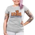 One of These is Not Like the Otters Junior's t-shirt model TeeTurtle silver t-shirt featuring a mama otter holding hands with her three little otters, two on her left, and one smiling big on her right
