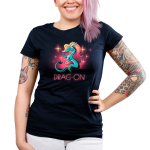 Drag-On Junior's t-shirt model TeeTurtle navy t-shirt featuring a blue dragon with long orange and read hair wearing a pearl necklace with sparkles all around them