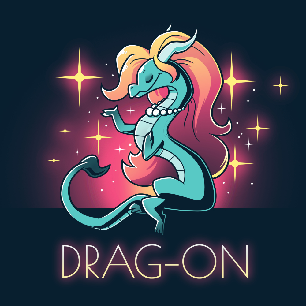 Drag-On t-shirt TeeTurtle navy t-shirt featuring a blue dragon with long orange and read hair wearing a pearl necklace with sparkles all around them