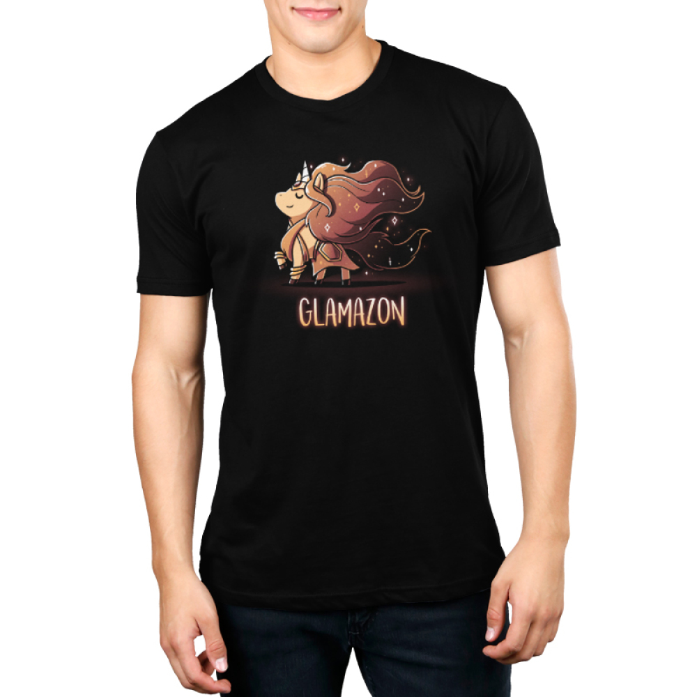 Glamazon Men's t-shirt model TeeTurtle black t-shirt featuring a golden unicorn with long flowing grown fur in an amazonian outfit