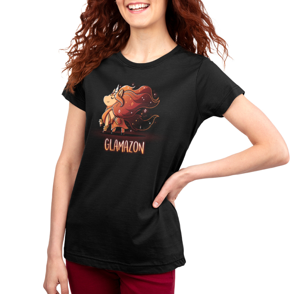 Glamazon Women's t-shirt model TeeTurtle black t-shirt featuring a golden unicorn with long flowing grown fur in an amazonian outfit