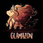 Glamazon t-shirt TeeTurtle black t-shirt featuring a golden unicorn with long flowing grown fur in an amazonian outfit