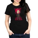 Black Widow womens tshirt model officially licensed black tshirt featuring Black Widow