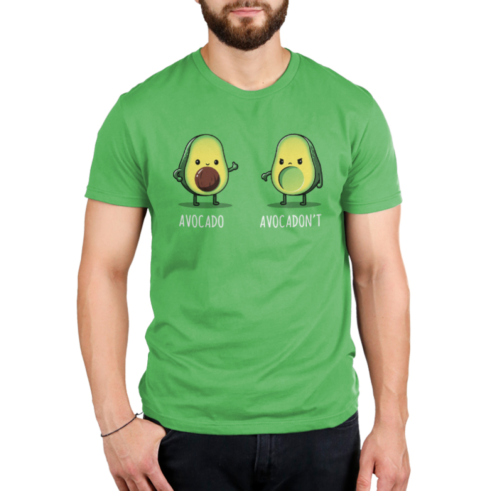 Avocadon't Men's t-shirt model TeeTurtle apple green t-shirt featuring one avocado smiling giving a thumbs up and another looking upset with a thumbs down