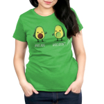 Avocadon't Women's t-shirt model TeeTurtle apple green t-shirt featuring one avocado smiling giving a thumbs up and another looking upset with a thumbs down