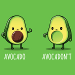 Avocadon't t-shirt TeeTurtle apple green t-shirt featuring one avocado smiling giving a thumbs up and another looking upset with a thumbs down
