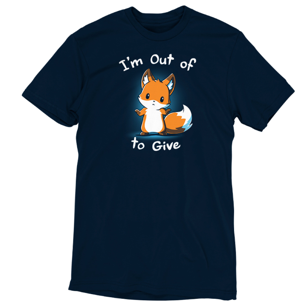 I'm Out of Fox to Give t-shirt TeeTurtle navy t-shirt featuring an orange fox shrugging