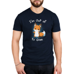 I'm Out of Fox to Give Men's t-shirt model TeeTurtle navy t-shirt featuring an orange fox shrugging