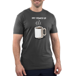 My Power-Up Men's t-shirt model TeeTurtle charcoal t-shirt featuring a digitized video game looking white coffee mug with coffee in it and steam coming from the mug