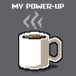My Power-Up t-shirt TeeTurtle charcoal t-shirt featuring a digitized video game looking white coffee mug with coffee in it and steam coming from the mug