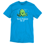 You're Kraken Me Up t-shirt TeeTurtle cobalt blue t-shirt featuring a green Kraken under water laughing with bubbles around him