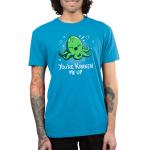 You're Kraken Me Up Men's t-shirt model TeeTurtle cobalt blue t-shirt featuring a green Kraken under water laughing with bubbles around him