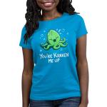 You're Kraken Me Up Women's t-shirt model TeeTurtle cobalt blue t-shirt featuring a green Kraken under water laughing with bubbles around him