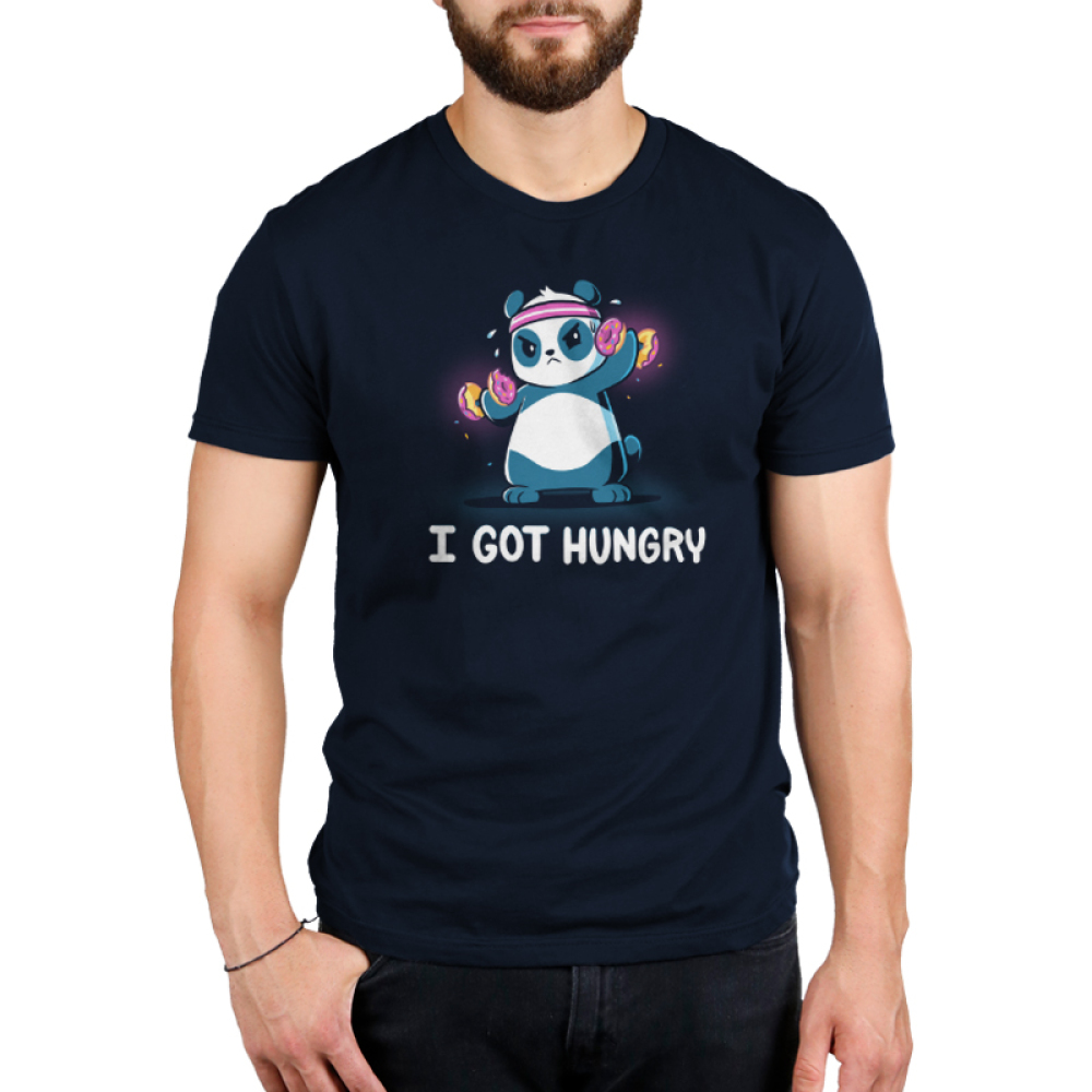 I Got Hungry Men's t-shirt model TeeTurtle navy t-shirt featuring a sweaty panda wearing a pink sweat band on its head lifting hand weights with donuts on them