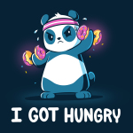 I Got Hungry t-shirt TeeTurtle navy t-shirt featuring a sweaty panda wearing a pink sweat band on its head lifting hand weights with donuts on them