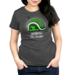 Why Are You Still Talking Women's t-shirt model TeeTurtle charcoal t-shirt featuring a turtle hiding in its green shell looking angry