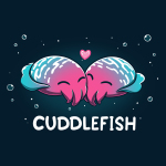 Cuddlefish t-shirt TeeTurtle navy t-shirt featuring two pink, blue, and white, cuttle fish snuggling up against each other with a heart between them and bubbles around them