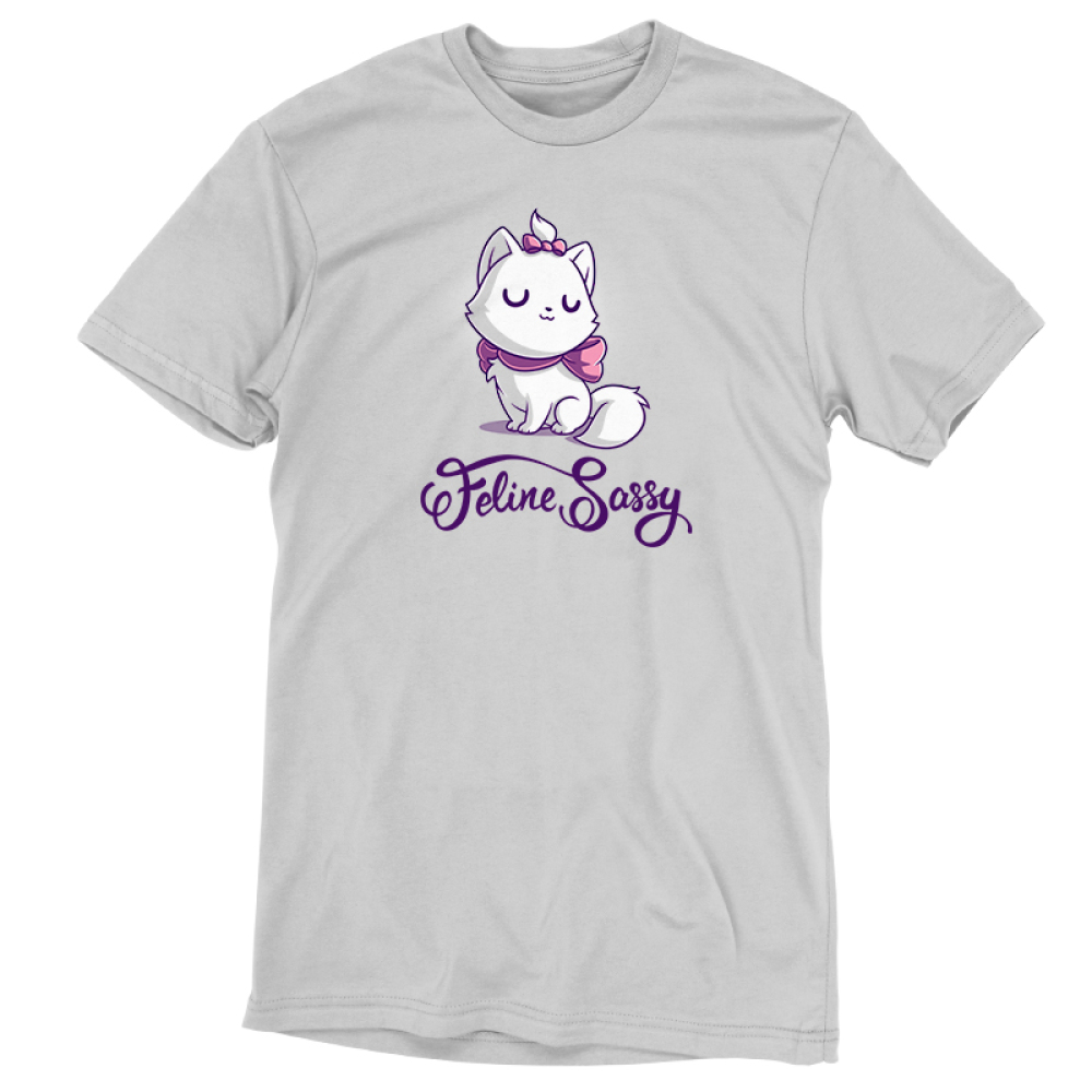 Feline Sassy tshirt officially licensed silver tshirt featuring Marie from the Aristocats with a pink bow