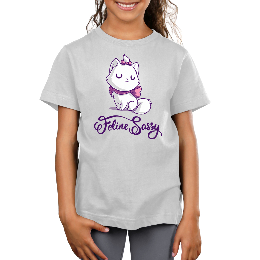 Feline Sassy kids tshirt model officially licensed silver tshirt featuring Marie from the Aristocats with a pink bow