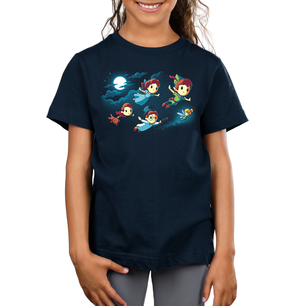 Journey To Neverland kids tshirt model officially licensed navy tshirt featuring Peter wendy john michael and tinkerbell flying to neverland