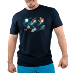 Journey To Neverland mens tshirt model officially licensed navy tshirt featuring Peter wendy john michael and tinkerbell flying to neverland