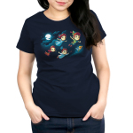 Journey To Neverland womens tshirt model officially licensed navy tshirt featuring Peter wendy john michael and tinkerbell flying to neverland