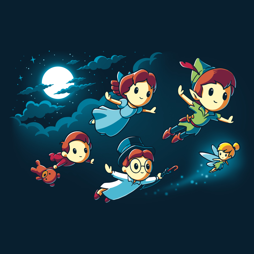 Journey To Neverland tshirt officially licensed navy tshirt featuring Peter wendy john michael and tinkerbell flying to neverland