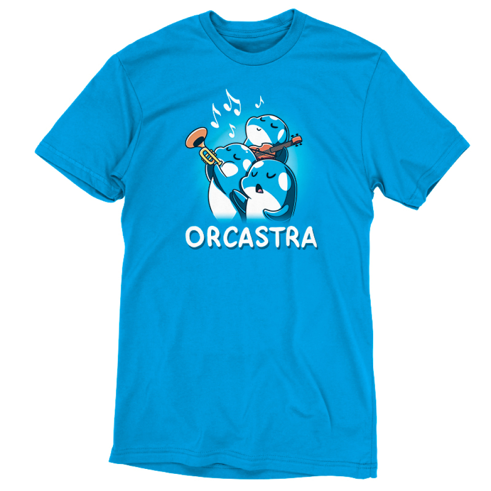 Orcastra t-shirt TeeTurtle cobalt blue t-shirt featuring 3 orca whales, one singing, one playing the trumpet, one playing the violin with music notes around them