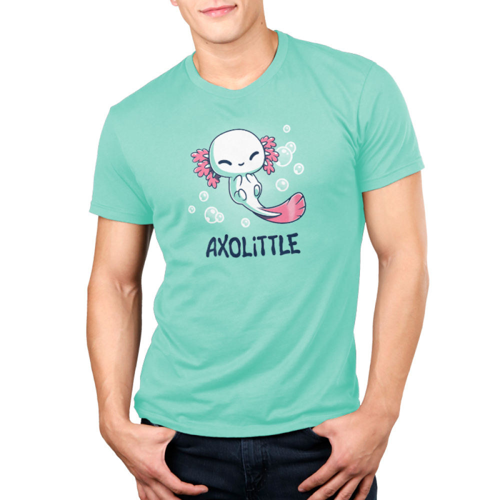 Axolittle Men's t-shirt model TeeTurtle light turquoise t-shirt featuring a small baby white axolotl with pink gills and a pink tail surrounded by bubbles.