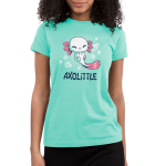 Axolittle Junior's t-shirt model TeeTurtle light turquoise t-shirt featuring a small baby white axolotl with pink gills and a pink tail surrounded by bubbles.