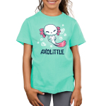 Axolittle Kid's t-shirt model TeeTurtle light turquoise t-shirt featuring a small baby white axolotl with pink gills and a pink tail surrounded by bubbles.