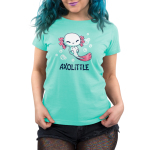 Axolittle Women's t-shirt model TeeTurtle light turquoise t-shirt featuring a small baby white axolotl with pink gills and a pink tail surrounded by bubbles.