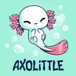 Axolittlelight turquoise t-shirt featuring a small baby white axolotl with pink gills and a pink tail with its eyes happily closed floating among bubbles.
