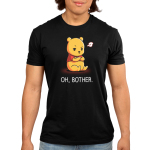 Oh, Bother mens tshirt model officially licensed black tshirt featuring Winnie the Pooh upset