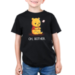 Oh, Bother kids tshirt model officially licensed black tshirt featuring Winnie the Pooh upset