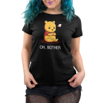 Oh, Bother womens tshirt model officially licensed black tshirt featuring Winnie the Pooh upset