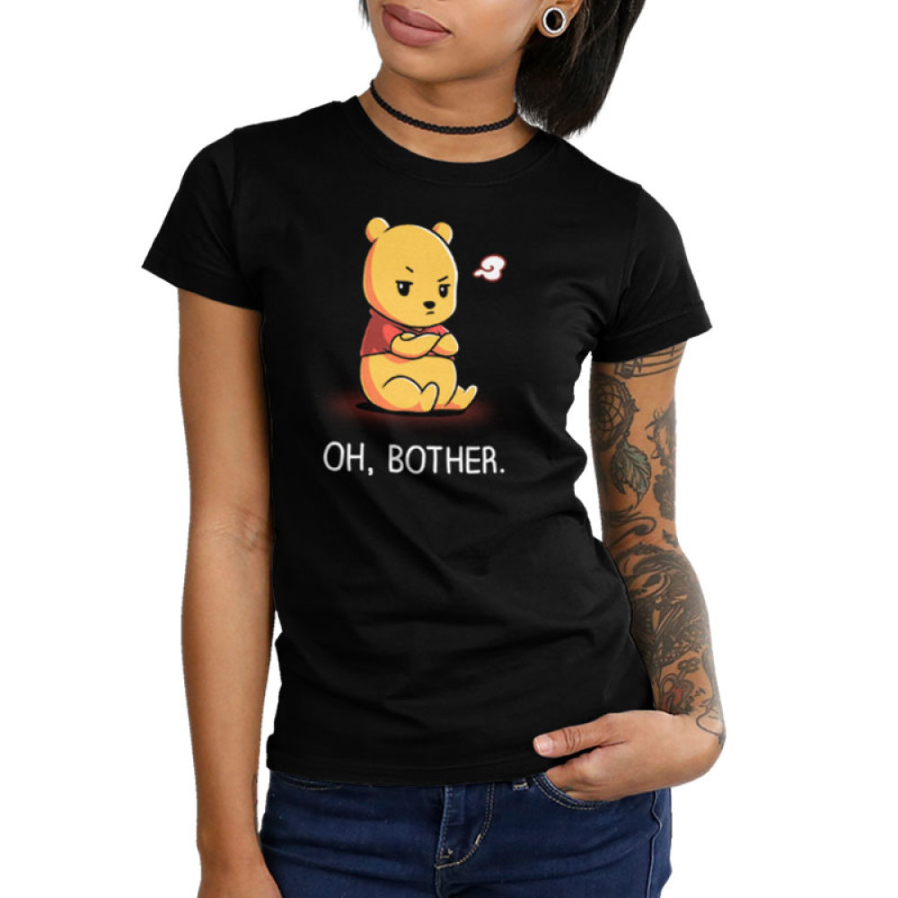 Oh, Bother juniors tshirt model officially licensed black tshirt featuring Winnie the Pooh upset