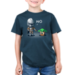 No, Grogu kids tshirt model offifically licensed denim tshirt featuring mando saying no to grogu for playing with the ship part