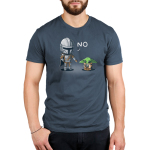 No, Grogu mens tshirt model offifically licensed denim tshirt featuring mando saying no to grogu for playing with the ship part