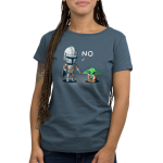 No, Grogu womens tshirt model offifically licensed denim tshirt featuring mando saying no to grogu for playing with the ship part