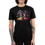 Wanda and Vision mens tshirt model  officially licensed black tshirt featuring Scarlet Witch and Vision back to back with magic bubbles around them