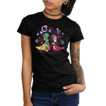 Wanda and Vision juniors tshirt model  officially licensed black tshirt featuring Scarlet Witch and Vision back to back with magic bubbles around them