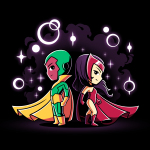 Wanda and Vision tshirt officially licensed black tshirt featuring Scarlet Witch and Vision back to back with magic bubbles around them