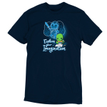 Explore Your Imagination t-shirt TeeTurtle navy t-shirt featuring a green turtle drawing a turtle in battle armor holding a sword with an imagination bubble showing his drawing