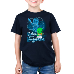 Explore Your Imagination Kid's t-shirt model TeeTurtle navy t-shirt featuring a green turtle drawing a turtle in battle armor holding a sword with an imagination bubble showing his drawing